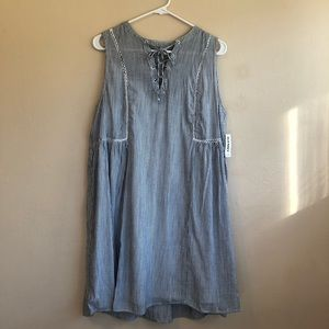 NWT Old Navy Navy & White Striped A Line Dress